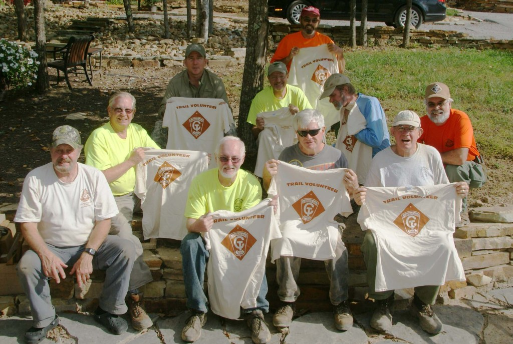 Eleven Fairfield Glade trail builders worked Big Dig on October 8. First time volunteers show of their tee shirts