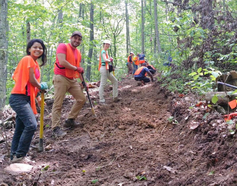 Florida International University students working on the deLozier Branch Section off Hebbertsburg Road, 2016 (Richie)