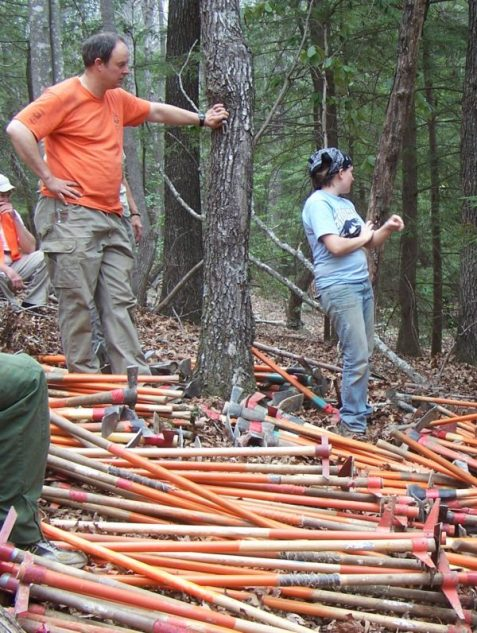 Tony Hook, former CTC Trail Manager, waits while tools are collected at the end of ASB 2010. (Photo Richie)