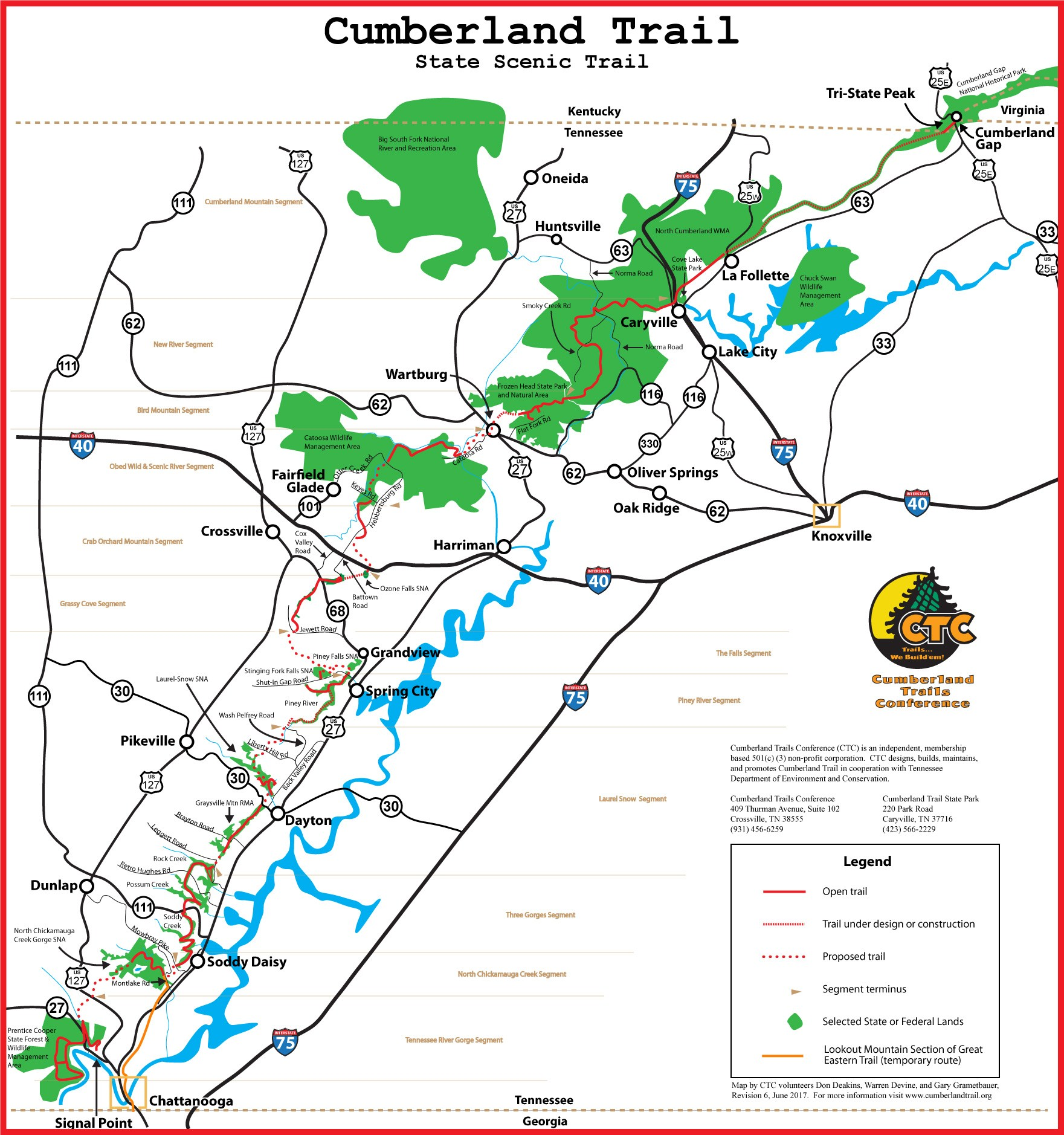 Cumberland Trail Map