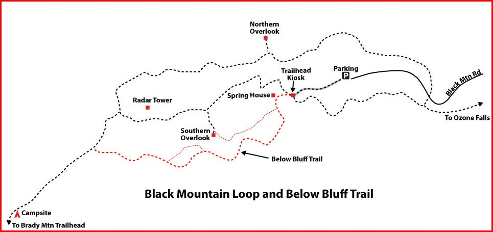 "Black Mountain Loop Trail showing ""Below The Bluff Trail"" made official by the CTSST in 2018. Thanks to Don Deakins for adding this detail."