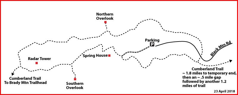 One mile loop trail on top of Black Mountain. The Cumberland Trail overlays the southern portion of the loop trail. Map courtesy of Don Deakins.