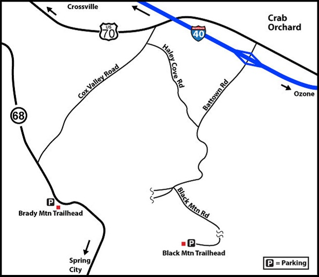 BlackMtnRd Road map to Black Mountain Trailheads. Courtesy Don Deakins