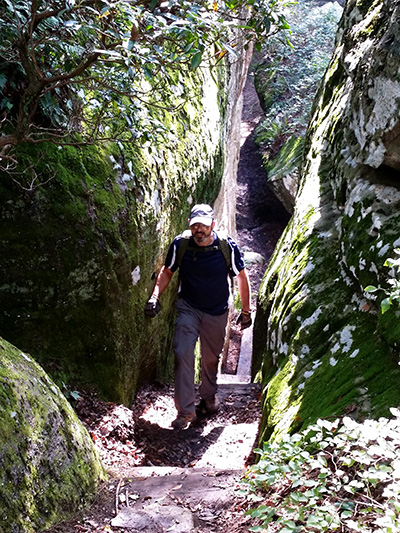 CTC volunteer Mike Durnwald during the reconstruction of Gateway Rock stairs, Black Mountain 2014. (Richie)