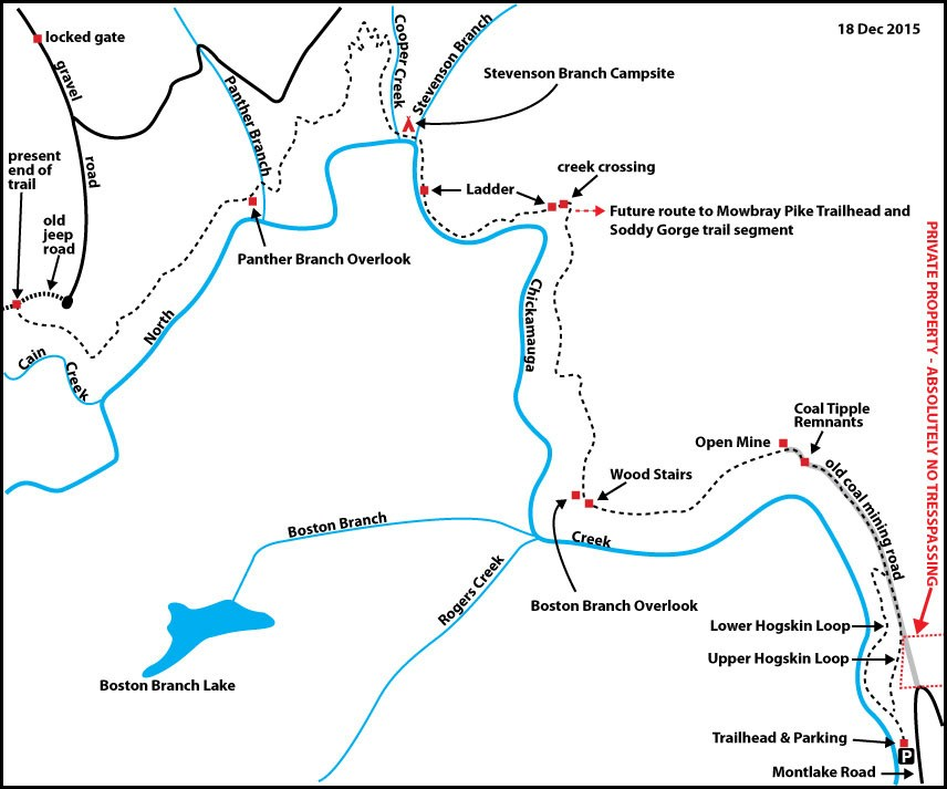 North Chickamauga Trail Map by Don Deakins