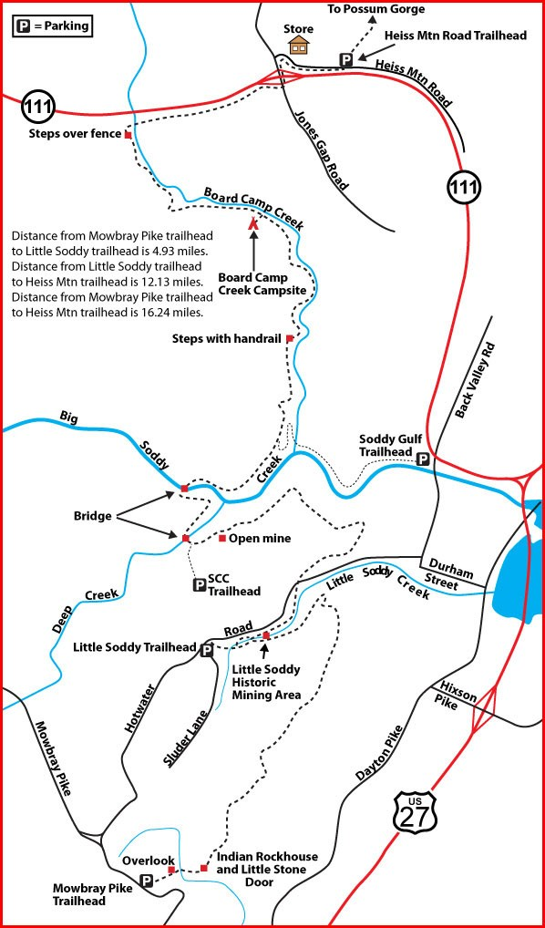 Soddy Gorge Map up dated 2018. Courtesy Don Deakins.