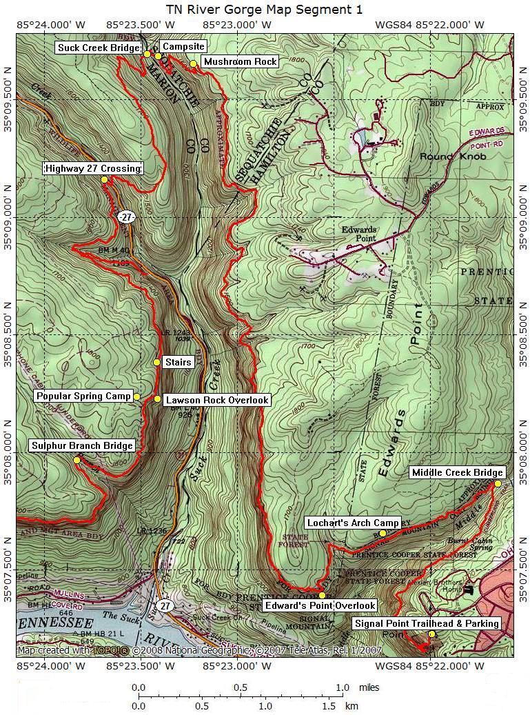 Tennessee River Gorge Map Segment 1