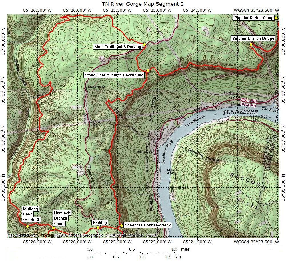 Tennessee River Gorge Map Segment 2