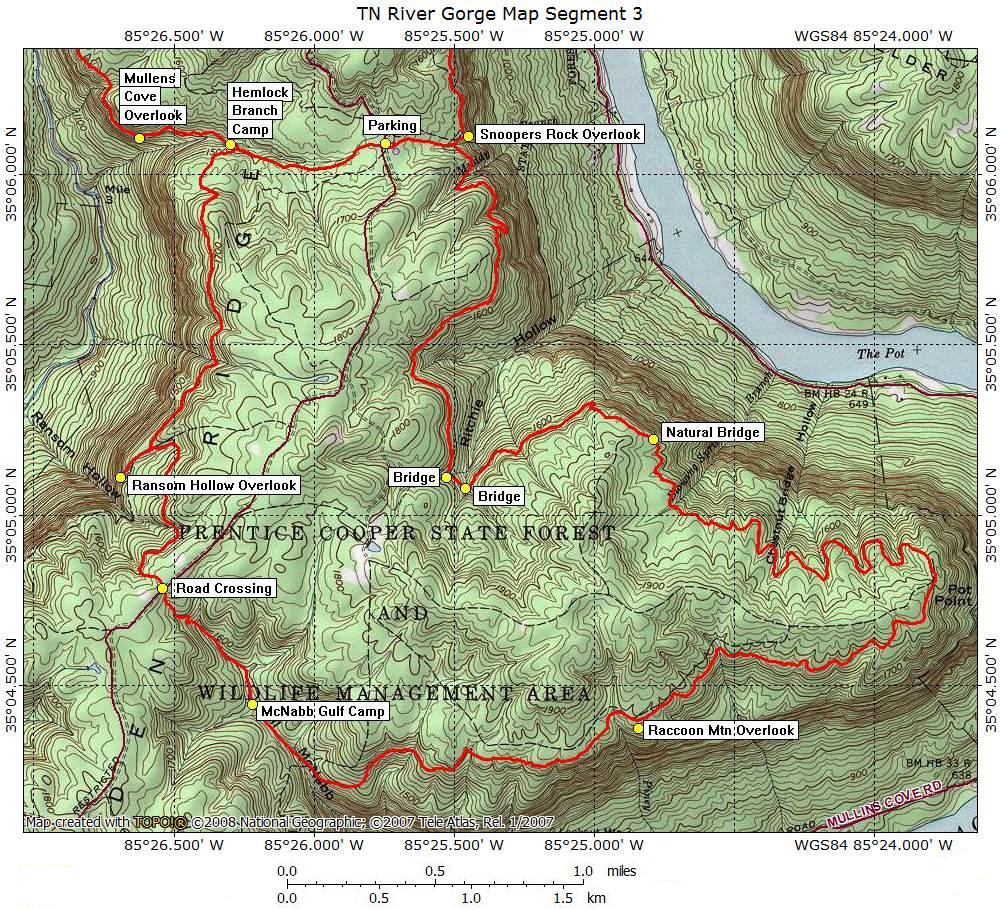 Tennessee River Gorge Map Segment 3