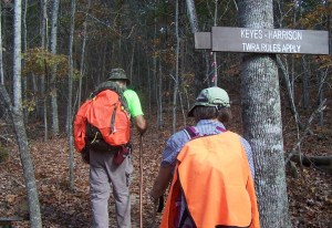 GOOD ! Hikers on the CT where it enters Keys-Harrison WMA must wear fluorescent clothing during hunting seasons. (Richie)