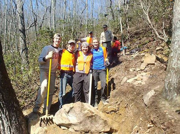 Rocks and Roots and Rocks and Roots . . . IUP students work a difficult section as the trail descends into Basin Branch, Ozone Section during Week Two, ASB 2018. (Wilson)