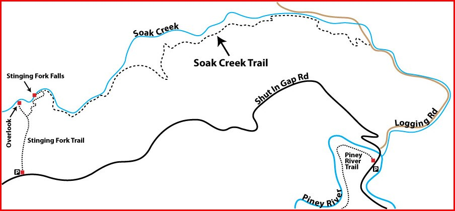 Stinging Fork Falls Section of The Falls Segment. 2018 map courtesy Don Deakins.