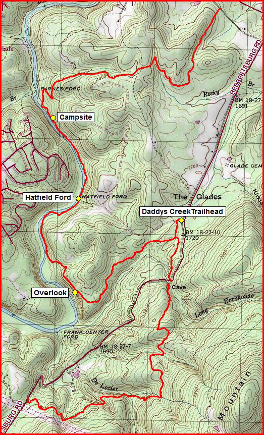 Topographic Map Daddys Creek Section courtesy of Don Deakins