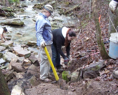 U of Kansas students build approach to rock crossing on Little Soddy Creek, January 2012.
