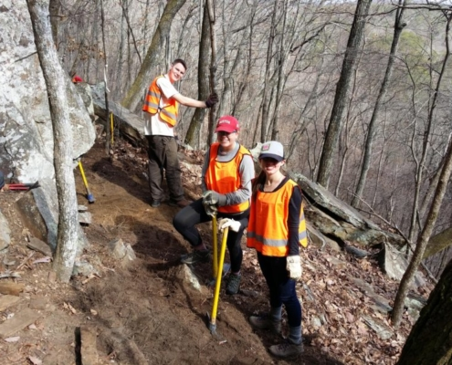 Michigan State students work a steep slope under Eagle Bluff on the Graysville Segment. (Richie)