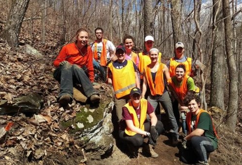 CTC regular trail builder and Wagon Master, Savannah (left) with her student crew from Pitt. ASB 2017. (Deakins)