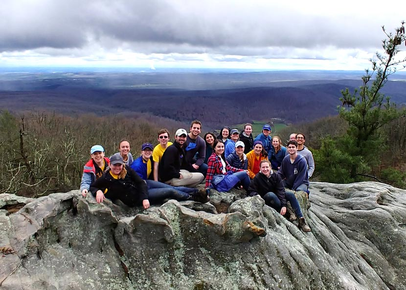 University of Delaware students during ASB 2018 on Black Mountain, Cumberland County, Tennessee. (Wilson)
