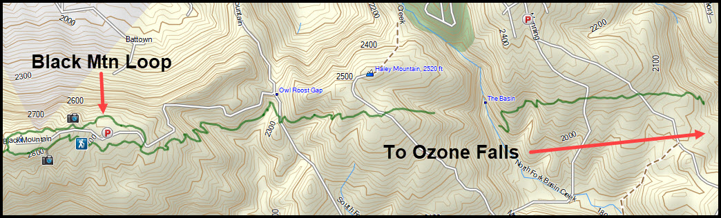 Topological Map - Black Mountain to Ozone Falls
